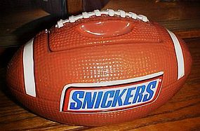Snickers advertising football shape ceramic cookie jar