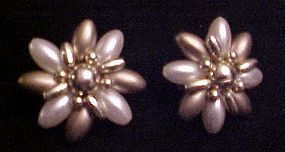 Vintage Pearly flower clip earrings