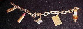 Vintage Avon charm bracelet, ring credit card lipstick