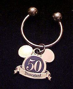 Disneyland 50th Anniversary golden mouse ears key ring