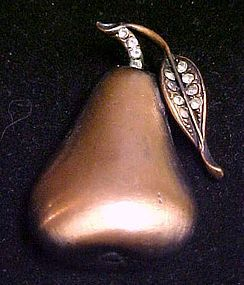 Vintage copper pear pin with rhinestones