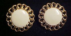 Napier gold cable beige enamel clip screw back earrings