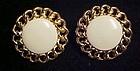 Napier gold cable beige enamel clip screw back earrings