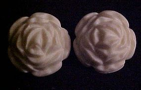 Vintage faux Ivory white rose clip earrings