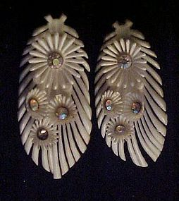 Vintage soft plastic feather earrings with rhinestones