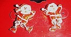Cute enamel Santa post earrings with dangle legs