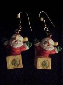 Jack in the box Santa Claus pierced earrings Christmas