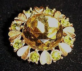 Vintage Avon citrine pin pendant