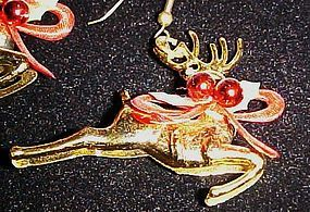 Vintage 3-D golden plastic reindeer earrings Christmas