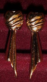 Vintage classic Monet gold tone drop knot earrings