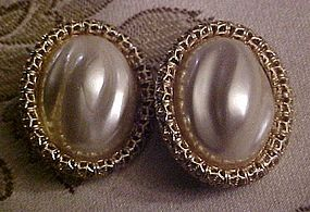 large Vintage baroque pearl style button clip earrings