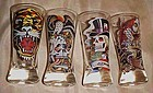 Set of 4 Ed Hardy tall shot glasses, Skulls, tiger, ect