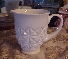 Vintage milk glass pitcher with diamond pattern