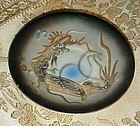 Vintage grey black dragonware demitasse saucer Japan