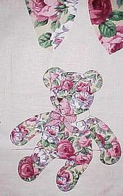 "Uncut fabric panel Rose covered  13"" Teddy Bear"