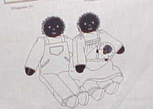 Uncut craft sewing panel Little black rag doll family