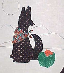 Uncut fabric sewing craft panel Howling coyote n cactus