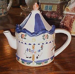 Hand painted ceramic carousel tea pot