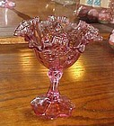 Fenton dusty rose ruffled compote cabbage rose pattern