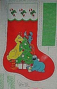 Uncut preprinted sewing panel Sesame Street stocking