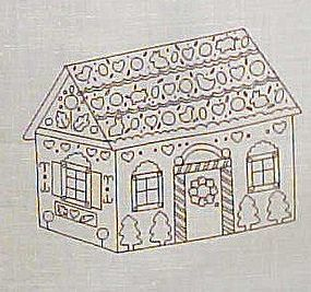 Uncut preprinted sewing craft panel  gingerbread house