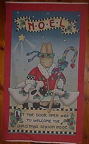 Uncut sewing panel Christmas bunny Noel door decor