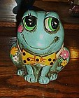 Retro groovy far out flower power hippy frog bank
