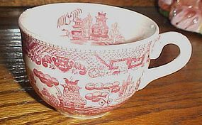 Vintage Pink Red Willow flat cup Japan