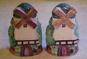 Vintage hand painted windnill salt and pepper shakers