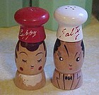 """Vintage Salty and Peppy Chef wood shakers 4"""""""