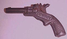 Antique cast iron toy Cowboy gun pistol 3.5""