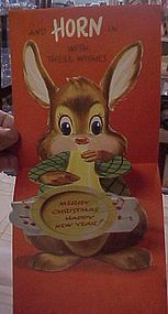 Vintage 50's Christmas pop-up card Bunny blowing horn