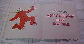 Vintage 1950's Red Flannel underwear Christmas card