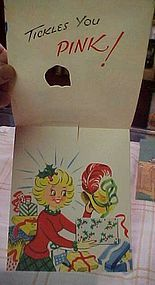 Vintage 50's animated Christmas card Lady shopper