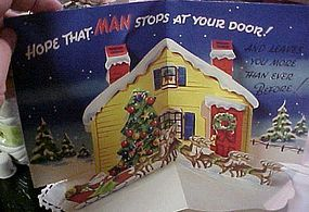 Awesome 50s pop-up Christmas card Santa and reindeer