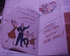 Vintage 50's  Christmas New Years card with Santa Claus