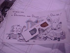 Vintage 1950's 3-D Christmas card with original glasses