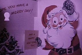 Vintage 50's Pop up Christmas card with Santa Claus
