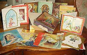Vintage 50s religious Christmas card assortment in box