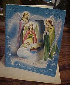 Vintage pop out religious Christmas card unused