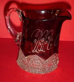 Duncan Miller button  Arches ruby  flashed creamer 1904