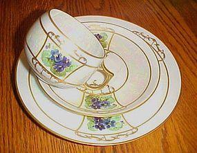 Jaeger Co cup saucer dessert plate violets lustreware