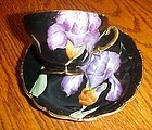 Vintage H/P purple  Iris cup and saucer MK Japan