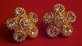 Large Sparkling goldtone Rhinestone  clip earrings