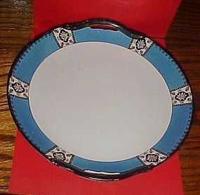 Noritake Deco cake plate blue band black flowers