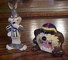 Football Bugs Bunny and Taz  ceramic s&p shakers