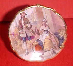 "Limoges France mini 1.75"" plate Victorian family scene"