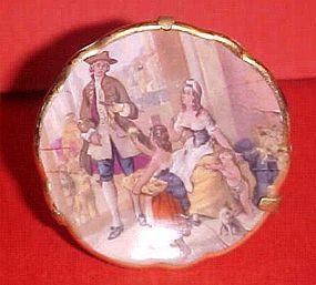 """Limoges France mini 1.75"""" plate Victorian family scene"""