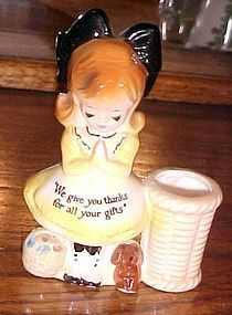 Enesco Prayer ladies toothpick holder little lady w dog