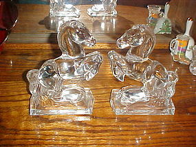 New Martinsville Fostoria glass rearing horse bookends